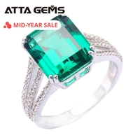 Green Emerald 925 Sterling Silver Ring 6 Carats Created NANO Emerald Solid Silver For Women Classical Style Silver Ring