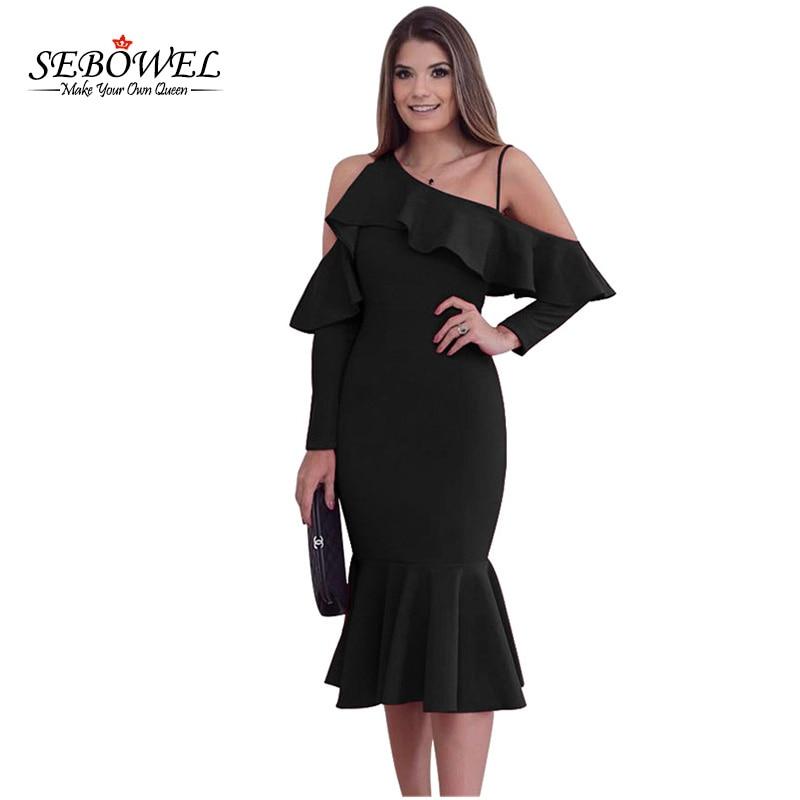 SEBOWEL Elegant Sexy Party Dress for Women Long Sleeve Asymmetric Slope Shoulder  Mermaid Ruffle Dress Slim Midi Vestidos 5b1d80bbc9a4