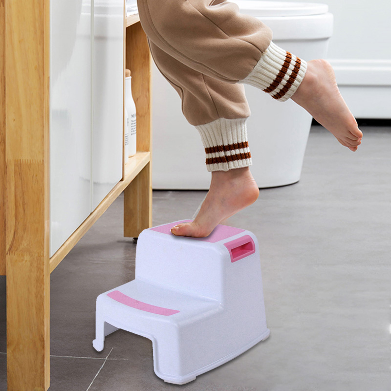 Hot 2 Step Stool Toddler Kids Stool Toilet Potty Training Slip Resistant For Bathroom Kitchen -Drop