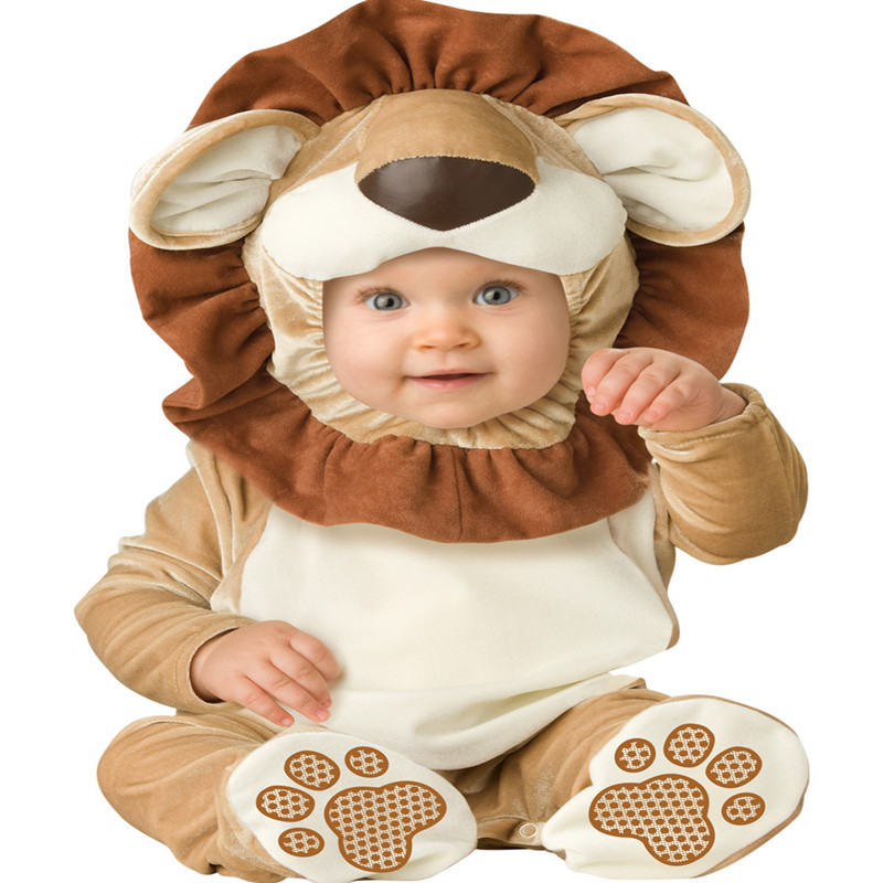 Cartoon Baby Infant Lion Romper Kids Onesie Suit Animal Cosplay Shapes Costume Child autumn winter Clothin twinsbella baby romper 2017 new fashion infant animal penguin cosplay costume child autumn winter christmas jumpsuit clothing