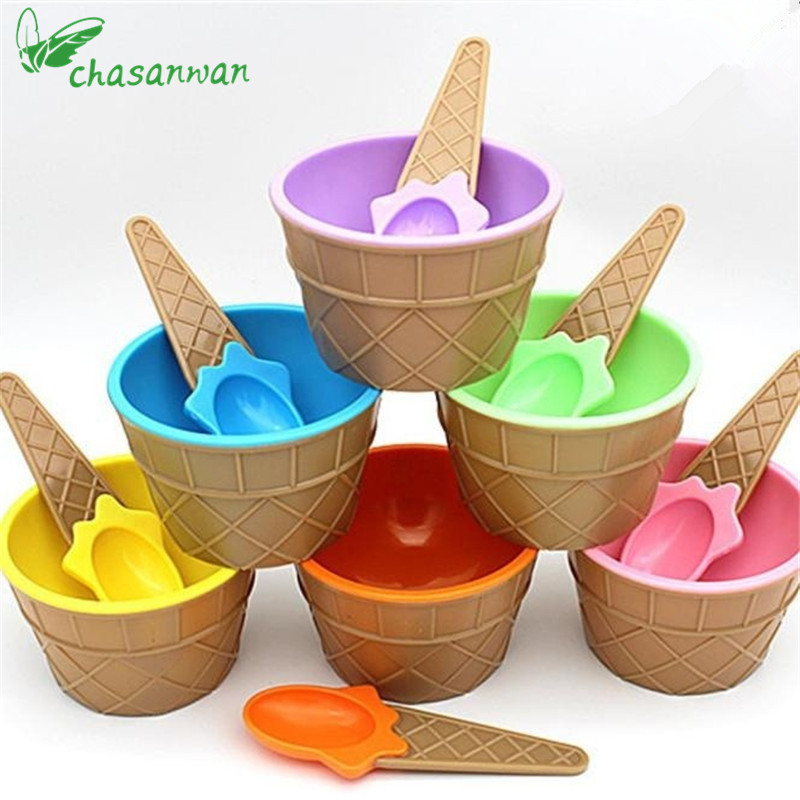 Hot Cute Ice Cream Bowl Ice Cream Cup Child Plastic Bowl Ice Cream Bowl Kitchen Accessories Diy For Kitchen Bowl Christmas Q