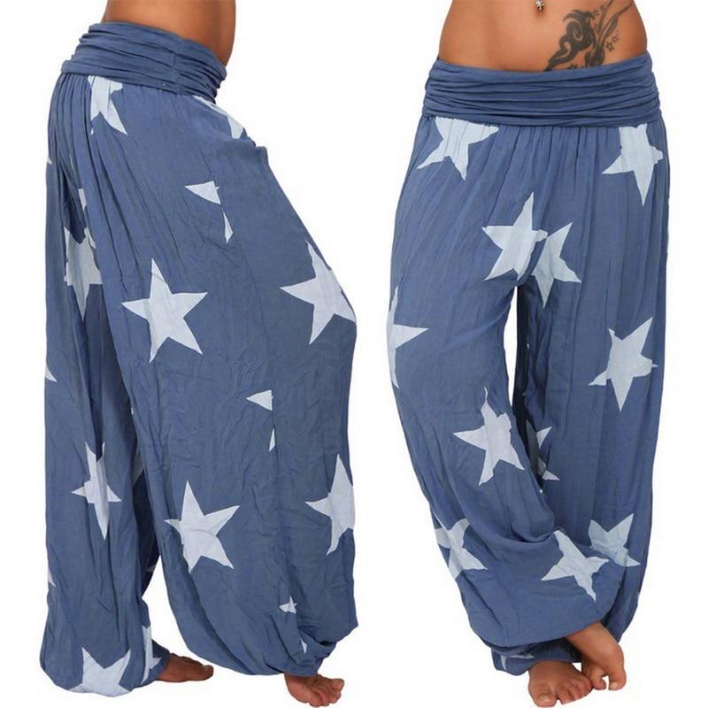 Litthing 2019 Brand Stars Printing Autumn Women Boho Pants High Waist Elastic Casual Loose Wide Leg Capris Women's Harem Pants