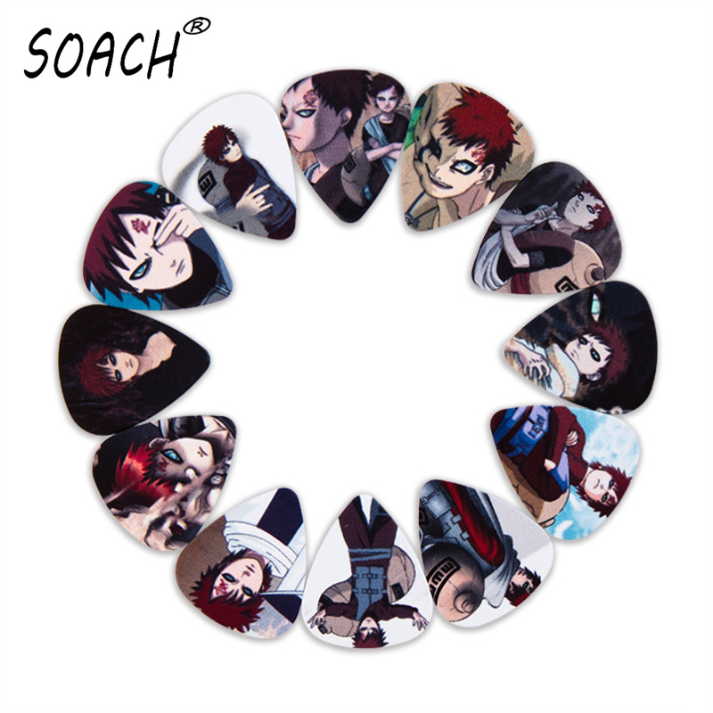 SOACH 10pcs 3 Kinds Of Thickness New Guitar Picks Bass Japanese Anime Role Gaara Pictures High Quality Print Guitar Accessories