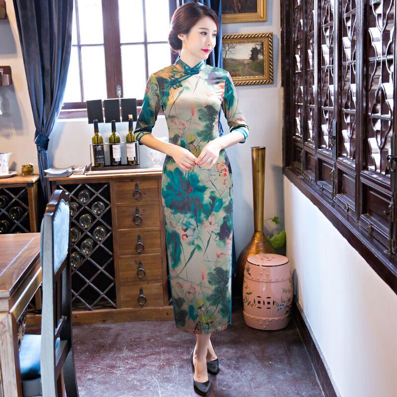 Top Selling Chinese Women's Satin Long Cheongsam Stylish Female Summer Qipao Dress Vestidos Size S M L XL XXL XXXL 342481 женское платье other 2015 o vestidos s m l xl xxl