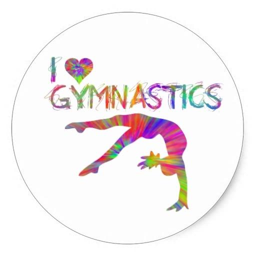 3 8cm I Love Gymnastics Tie Dye Shirts Bags Stickers Etc