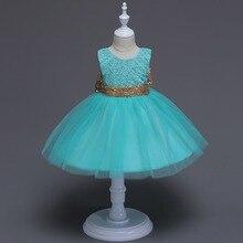 2017 New Born baby girl glitter bow tutu dress sequined Belt infant baby birthday dresses V back formal costume for princess
