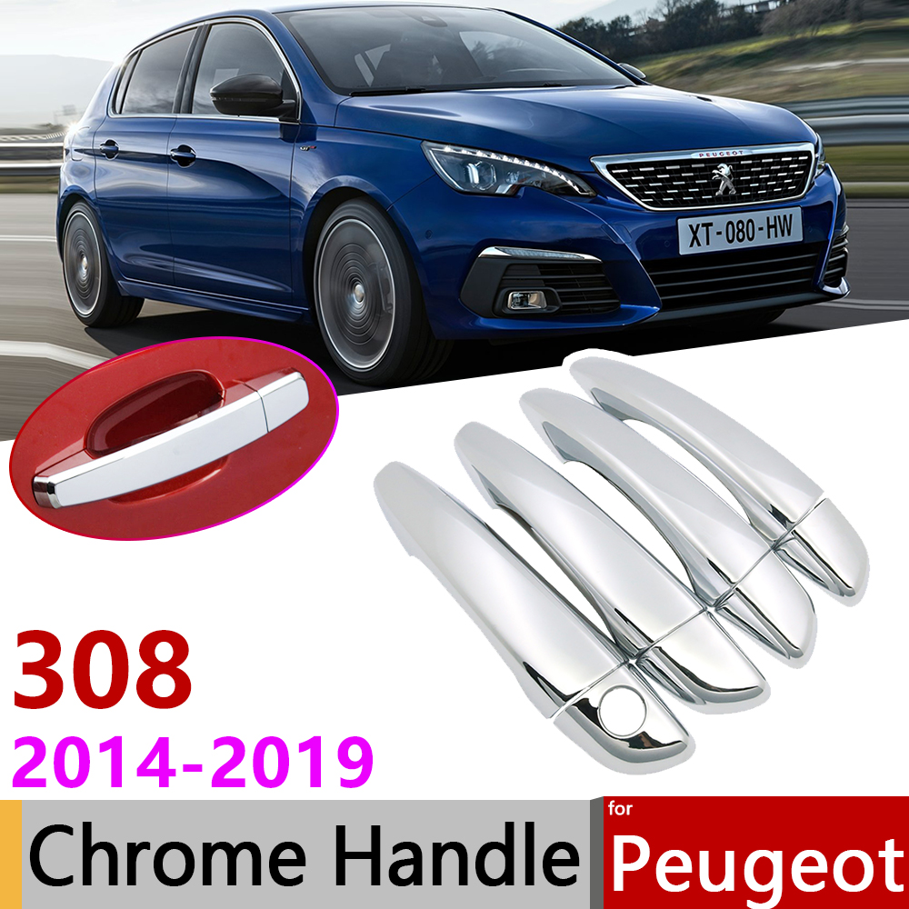 for <font><b>Peugeot</b></font> <font><b>308</b></font> T9 <font><b>SW</b></font> GT 2014~2019 Chrome Exterior Door Handle Cover Car Accessories Stickers Trim Set <font><b>2015</b></font> 2016 2017 2018 image
