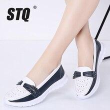 STQ 2020 الخريف النساء الشقق ماري جين أحذية من الجلد الانزلاق على الباليه الشقق Ballerines امرأة شقة المتسكعون أحذية مشي 7736