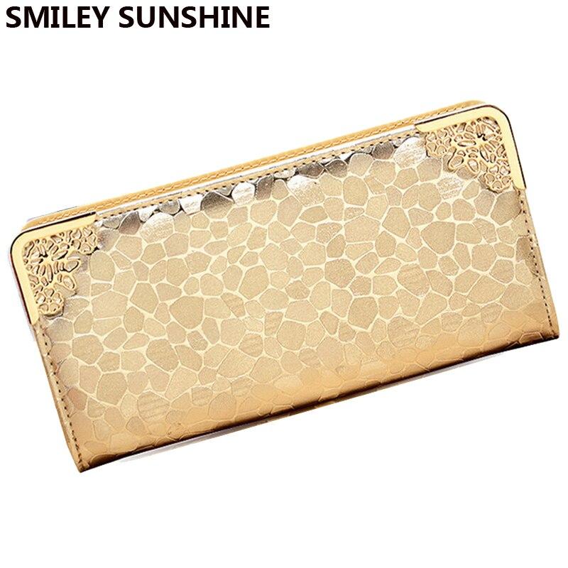 80968de11ba SMILEY SUNSHINE brand luxury wallet for women 2017 fashion famous brand  ladies wristlet wallet female big money bag purses gold