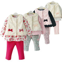 RETAIL 1SET Baby Girls 3 Piece Suits White Roses Velvet Waistcoat Flowers T Shirt Red Pants