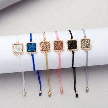 6 цветов цепочка Drusy женские браслеты имитация квадратного кристалла камни Друза браслеты манжеты браслеты бренд ювелирные изделия