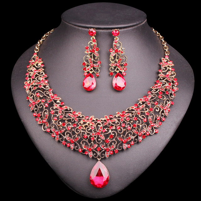 Fashion Necklace Earring Sets Vintage Bridal Jewelry Rhinestone Party Wedding Prom Costume Jewellery Decoration For
