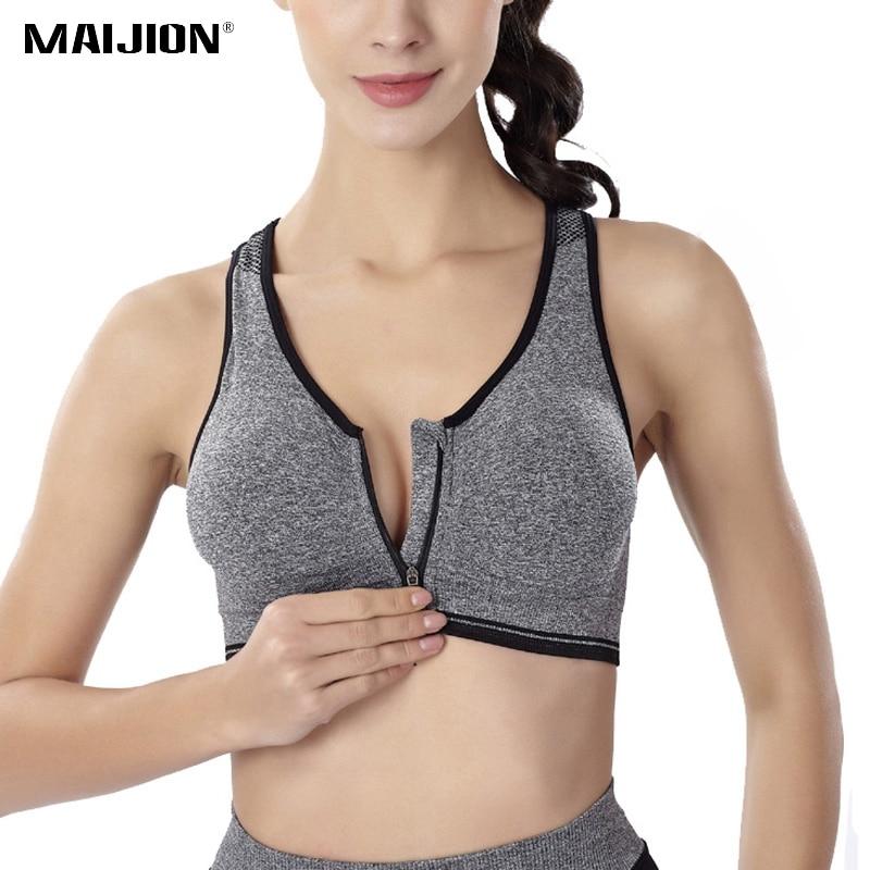 MAIJION Women Fitness Yoga Sports Bra For Running Gym Padded Wirefree Shakeproof Underwear Push Up Seamless Front Zipper Top Bra