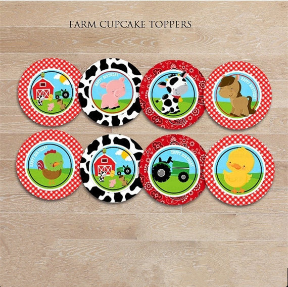 Barnyard Animals Sticker Party Supplies Farm Cupcake Toppers Birthday Decorations Kids Label For