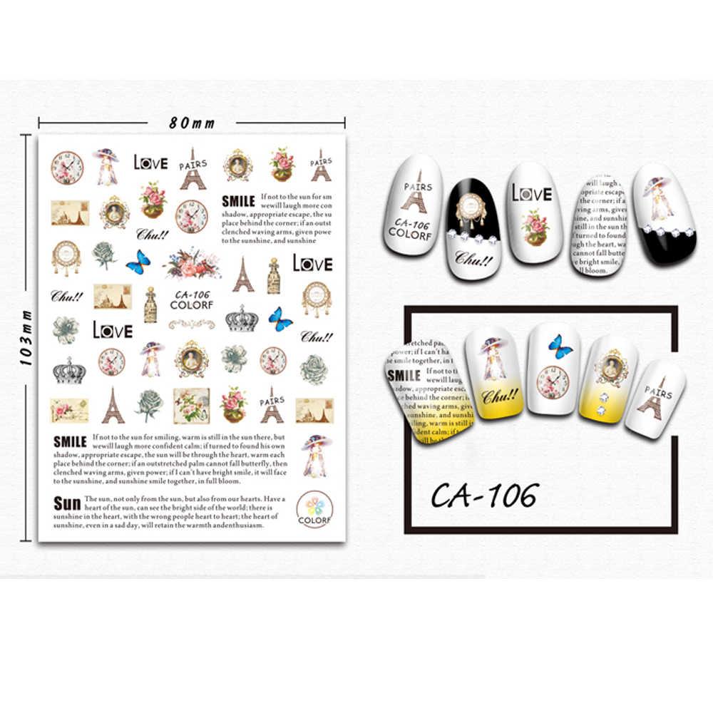 Folhas 1 Inglês Letras Selo Do Prego Da Arte Do Prego Decoração Mar Romântico 3D Adesivo Transferência Polonês Conjuntos Deslizantes Decalques TRCA100-108