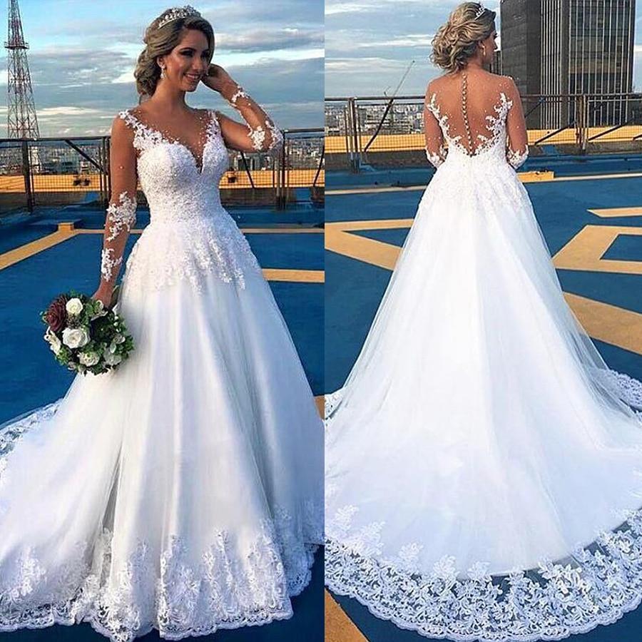 Fantastic Tulle V-Neckline A-line Wedding Dress With Lace Appliques & Beadings White Bridal Dress Vestido Madrinha