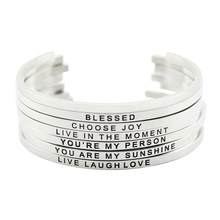 New arrival! 316L Stainless Steel Engraved Cuff Bracelets Inspirational Positive Quote Cuff Mantra Bracelet Bangle for women(China)
