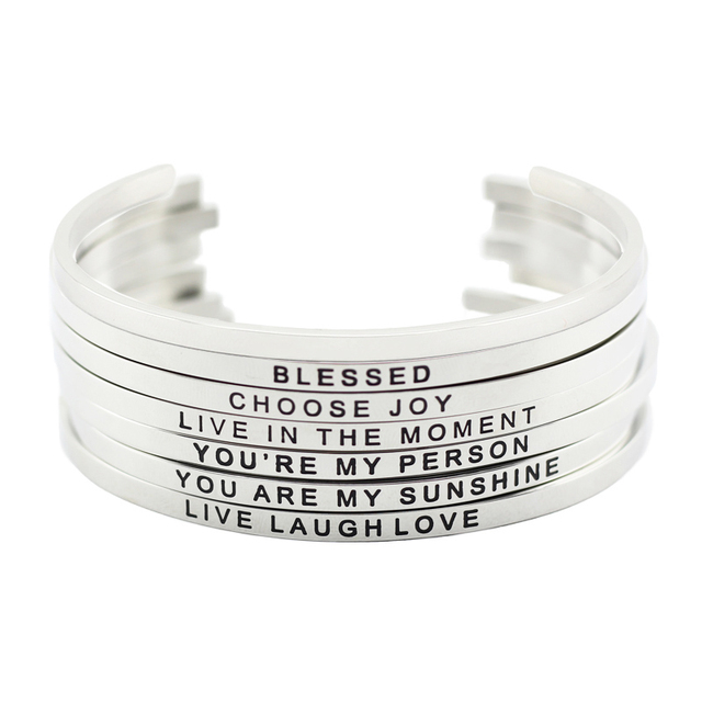 316l Stainless Steel Engraved Cuff Bracelets Inspirational Positive Quote Mantra Bracelet Bangle