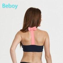 Beboy Cute Bowknot Sports Bras Women Breathable Wireless Yoga Bra Quick Dry High Stretch Fitness Gym Bra Compression Underwear