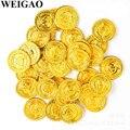 WEIGAO 50Pcs Pirate Schatz Kunststoff Münze Requisiten Gold Schädel Münze Für Halloween Party Cosplay Requisiten Kinder Party Spielzeug Schatz münzen