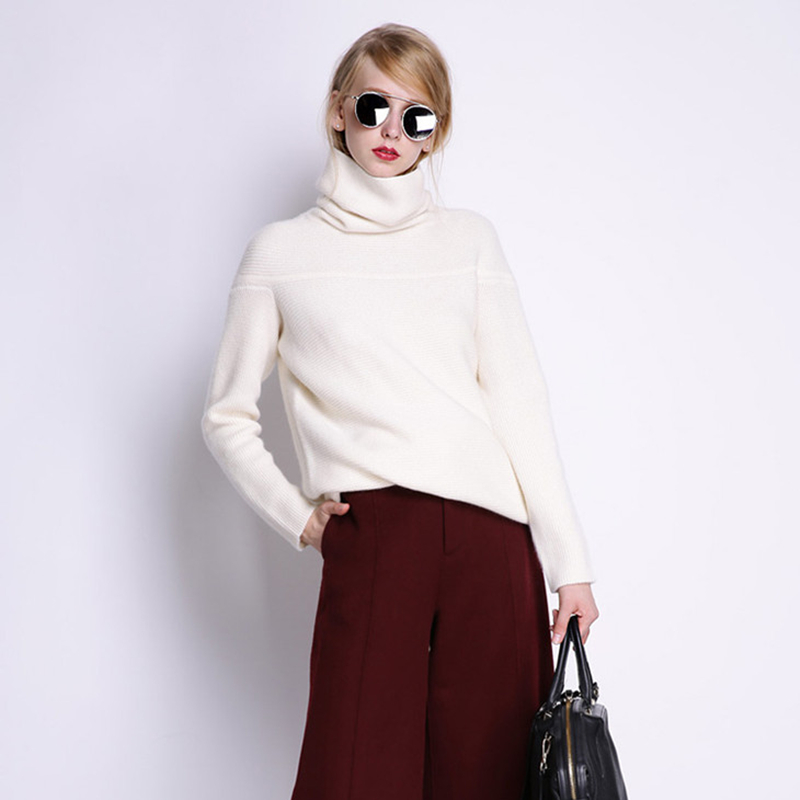 BELIARST New Autumn and Winter Cashmere Sweater Women's High Collar Thick Solid Color Sweater Loose Knit Sweater Wild Pullover 15