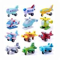 12Pcs/lot XQ New Fashion Wooden Mini Airplane Models Toys IQ Kit Boys Girls Education Vehicles Multicolor Toy For Children Gift