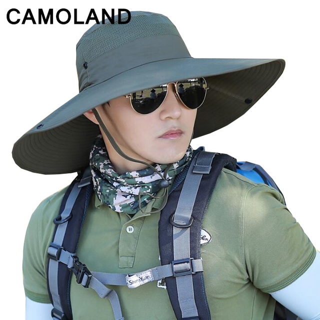 135982188da 14cm large Brim Sun Hat for men women Summer Beach Bucket Hat Fishing  Hiking Outdoor Sports UV Protective Boonie Camouflage