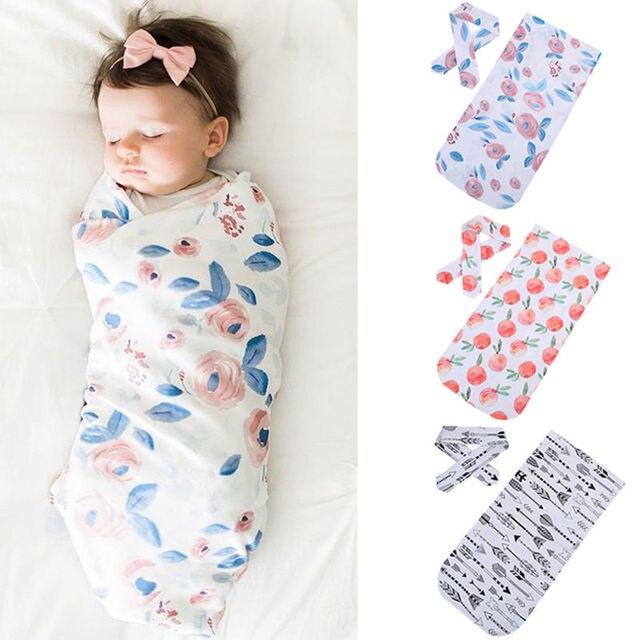 Новинка 2017 года, хлопковые детские одеяла с принтом для новорожденных, пеленка для сна, муслиновая пеленка + повязка на голову, 2 предмета