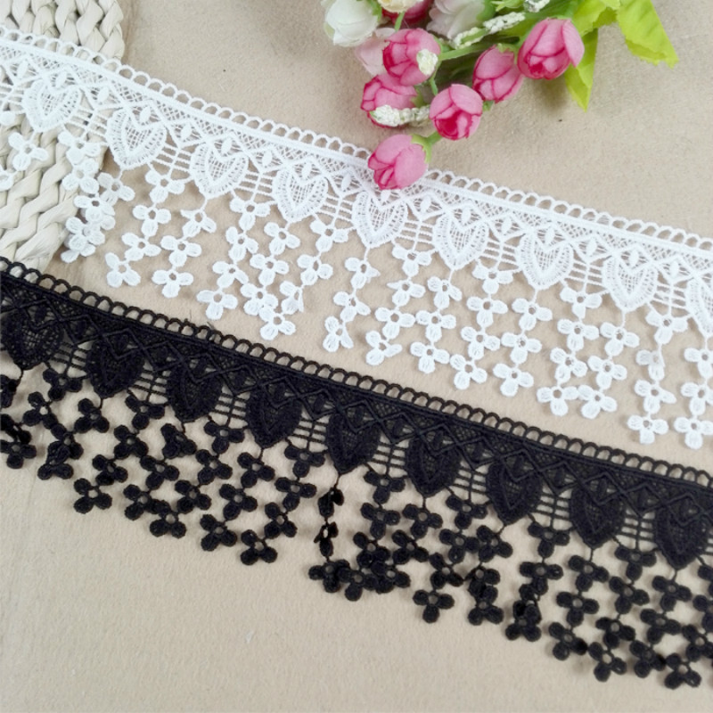 1m *8cm Wide Tassel Embrodiary Silk Ribbon Hollow Lace Trim Fabric For Sewing Bridal Wedding Dress Crafts