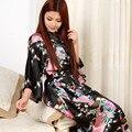 Das mulheres chinês Kimono longo de cetim manto falso de seda vestido de noite senhoras dormir vestidos longos de cetim vestir vestido pijamas roupa de dormir