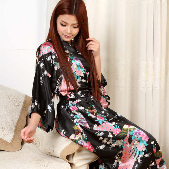 Womens Chinese Kimono Long Satin Robe faux Silk Night Gown Ladies Sleeping  Gowns Long Satin Dressing d2fcb0a58605