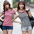 2017 Mulheres Verão tarja de Manga Curta T-Shirt, bonito Em Torno Do Pescoço lazer T Shirt para Meninas Preto e Vermelho stripe tops