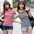 2017 Summer Women stripe Short Sleeve T-Shirt, Cute Round Neck leisure T Shirt for Girls Black and Red stripe tops