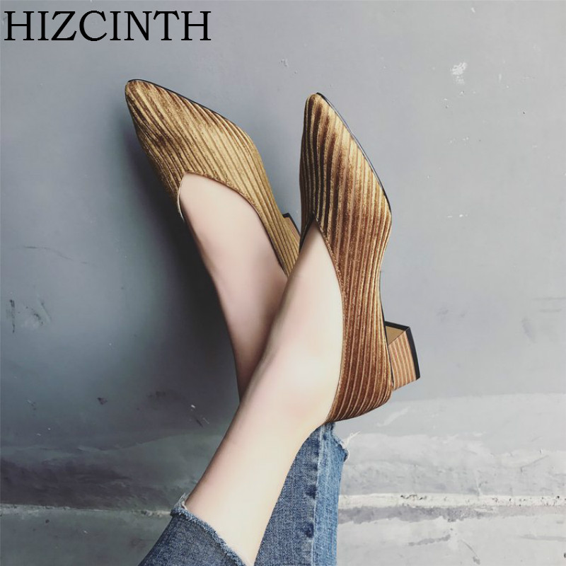 HIZCINTH 2018 Spring Women's Shoes Tide Pointed Toe Comfortable Ballet Flats Shoes Casual Corduroy Single Shoes Zapatillas Mujer lotus jolly ballet flats faux leather women casual shoes tie vintage british oxford low pointed toe spring autumn zapatos mujer