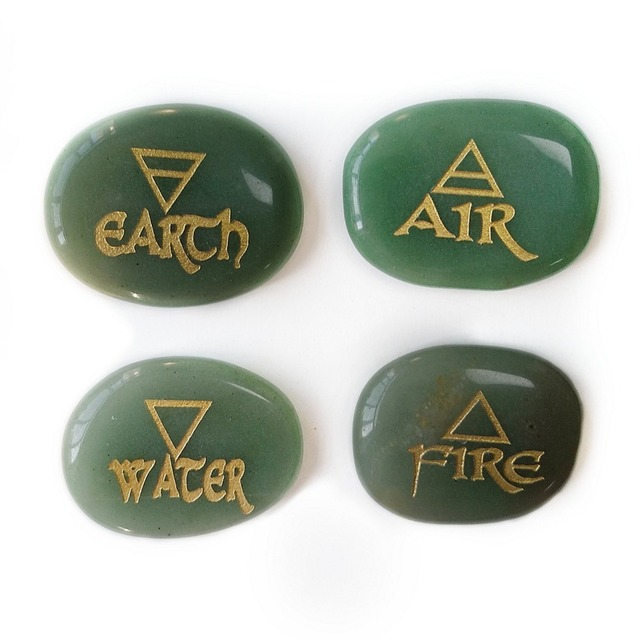 Meet Jo 4pcs Natural Green Aventurine Crystal Stone Earth Water Fire