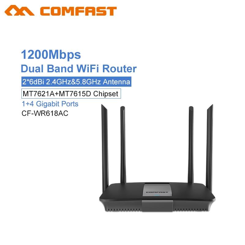 Comfast CF-WR618AC 1200Mbps Wireless Wifi Router Dual band 2.4G/5G 1 WAN+4 LAN Gigabit Port 802.11AC 4* External Antenna Router кремы belkosmeks набор из 2х кремов для рук и ногтей защита и регенерация classic 165г