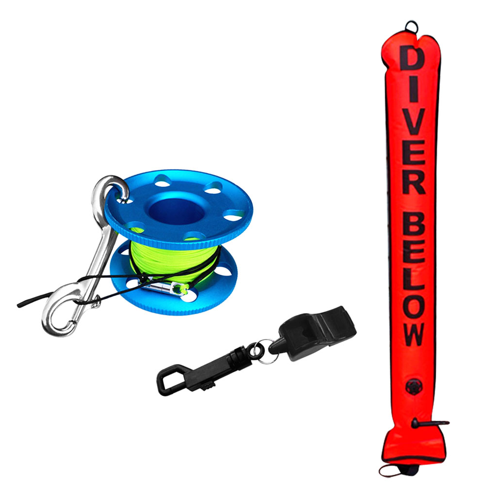 Dive SMB Kit, Scuba Diving Inflatable Safety Sausage Signal Tube + Finger Reel Guide Line Spool