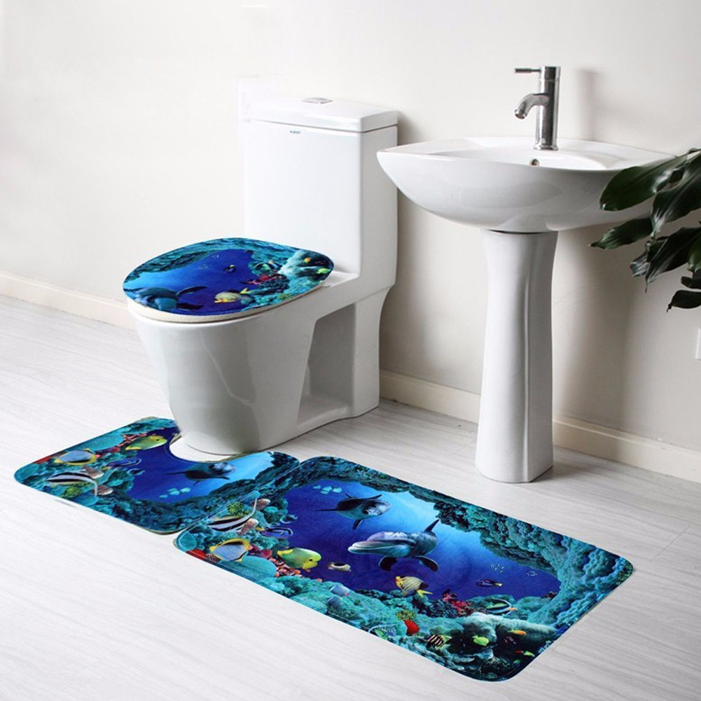 Cheap bathroom sets - Bathroom Accessories 3pcs Bathroom Non Slip Bathroom Carpet Blue Ocean Pedestal Rug Lid Toilet Cover