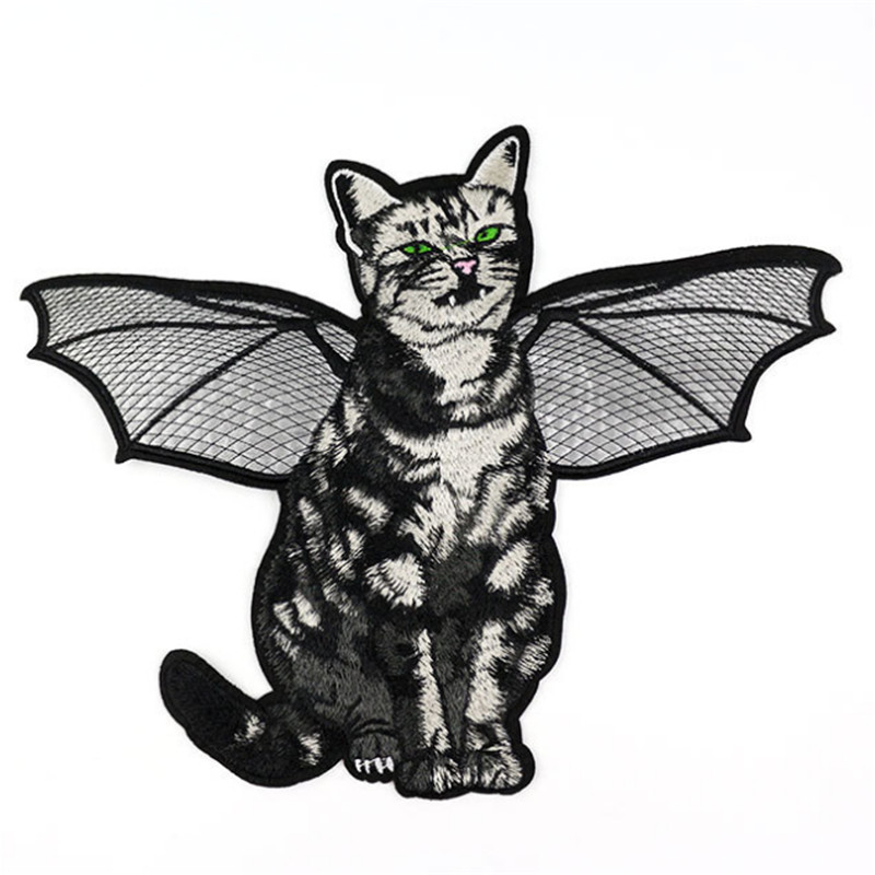 Embroidery patch deal with it 31cm fly vampire cat patches for clothes 3d t shirt mens, t shirt Women stickers free shipping