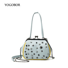 Brand new vintage bags retro PU leather tote bag chain women messenger bags small star clutch ladies shoulder bag handbags