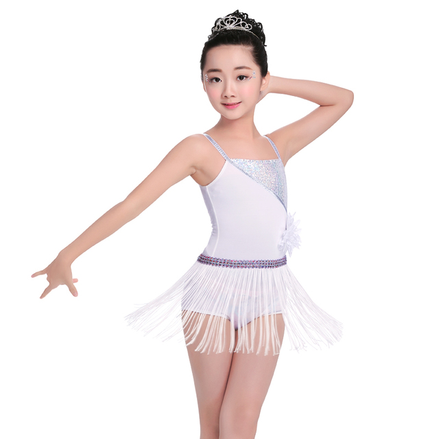 Sexy Без Рукавов Костюмы для латиноамериканских танцев платье для танцев Обувь для девочек Для детей белое платье Костюмы для бальных танцев Румба сальса танго танец платье с кисточками