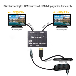 Image 2 - New 4K 60Hz HDR HDMI 2.0 Splitter 1x2 Splitter HDMI 2.0 4K Support HDCP 2.2 UHD HDMI Splitter 2.0 Switch Box For PS4 Projector