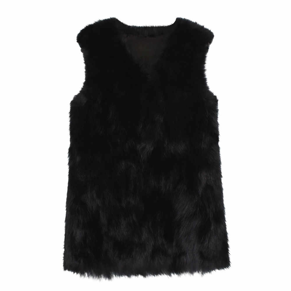 KANCOOLD 2018 Winte ファッションフェイクファーのコートの女性エレガントなカジュアルスリムノースリーブベストジャケット casaco feminino オーバーコート PJ0907