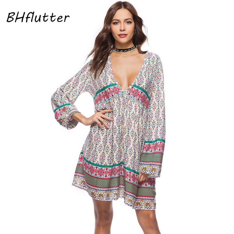 BHflutter <font><b>Women</b></font> <font><b>Dress</b></font> <font><b>2018</b></font> New Fashion Long Sleeve V neck Cotton <font><b>Summer</b></font> <font><b>Dress</b></font> Casual Loose <font><b>Boho</b></font> Style Short <font><b>Sexy</b></font> Beach <font><b>Dresses</b></font> image