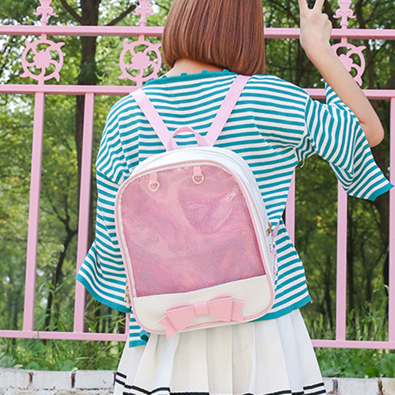 New Transparent Backpack Women PU Leather Jelly Color Clear PVC For Teenage Girls Multi-Function Mini Backpack Female Ita Bags