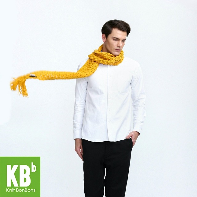 2017 KBB Spring    New Style Pure Yellow Cute Lace Style Winter Warm Yarn Knitted Women Men Neck Cover Scarf Scarves Wrap