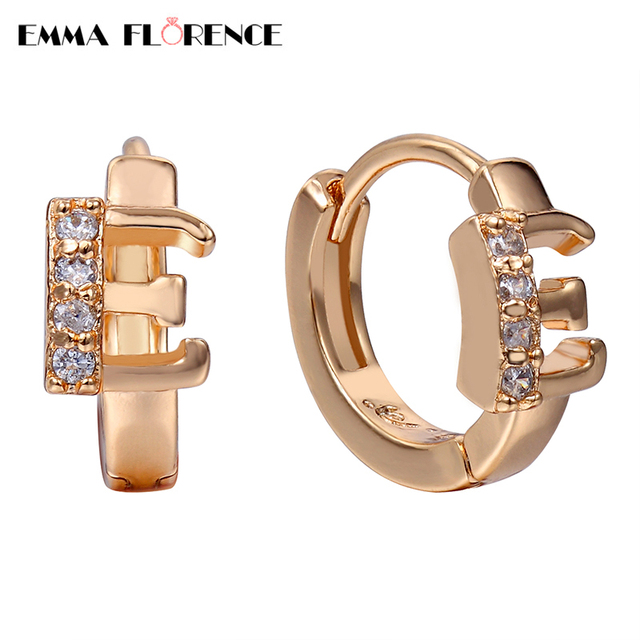 New Letter E Hoop Earrings Quality Last Shine With Clear Cz Aaa Cubic Zircon