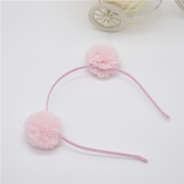 Sweet girls beautiful hairband headpieces rabbit ears plush ball big hair head hoop hair accessories Tiara for children. 1pcs