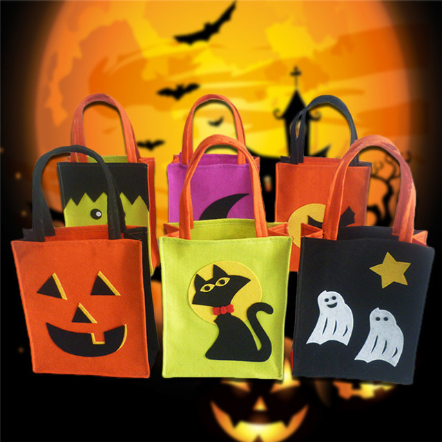 Halloween Gift Bags Candy Bag Pumpkin White Ghost Black Cat Witch ...
