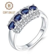 GEMS בלט 0.92Ct טבעי כחול ספיר חן טבעת 925 סטרלינג כסף נישואים טבעות נשים תכשיטי יום